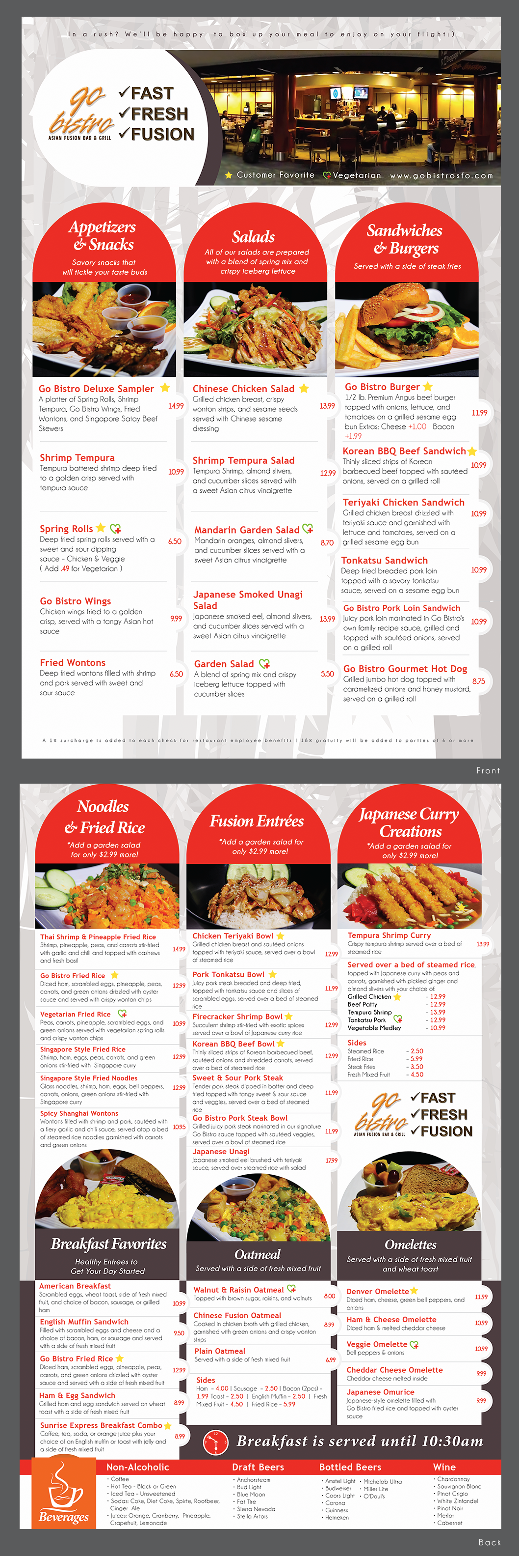 Create a menu for Go Bistro - Asian Fusion Bar & Grill inside San Francisco Int'l Airport