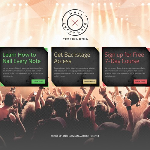 Create a striking, modern homepage for aspiring rockstar vocalists