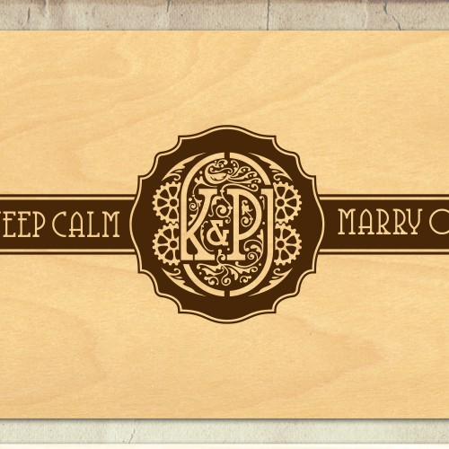 steam punk theme wedding monogram