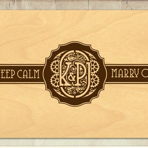 steam punk theme wedding monogram