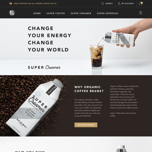 Product page for coffee brand