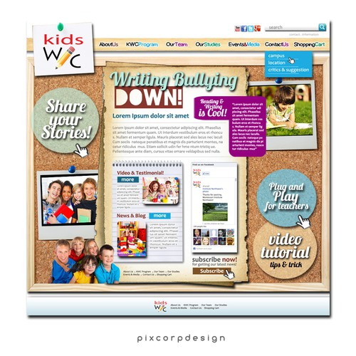 Help Kids Write Club Website design