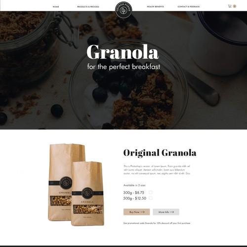 Granola web page design