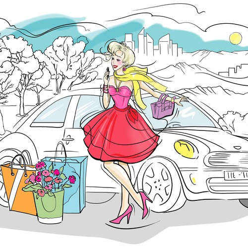fashion girl piik dress with car