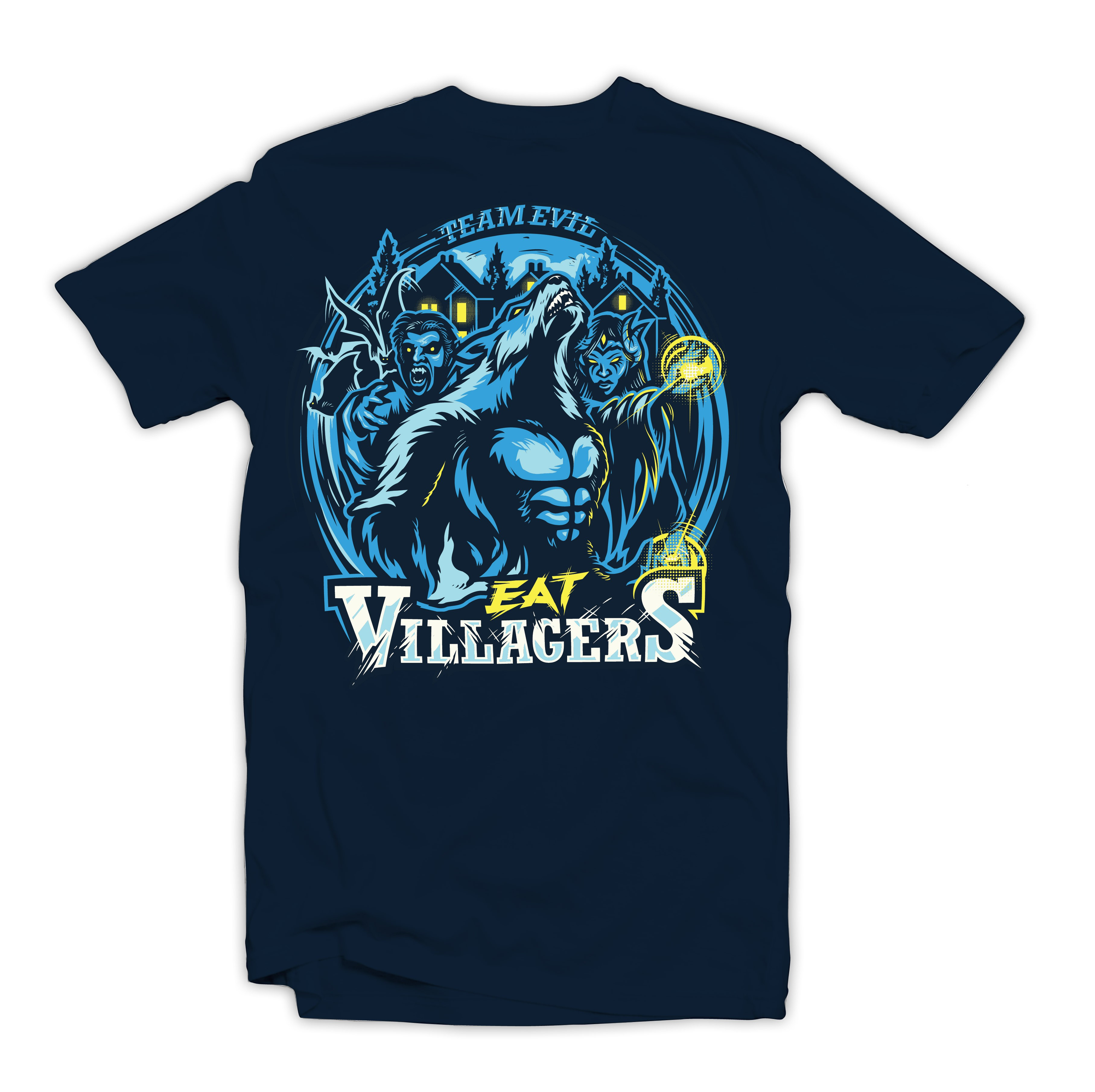 Create a shirt for EatVillagers, a company specializing in the game Werewolf.  AWOOO!