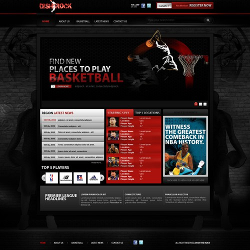 Basketball website for players and leagues