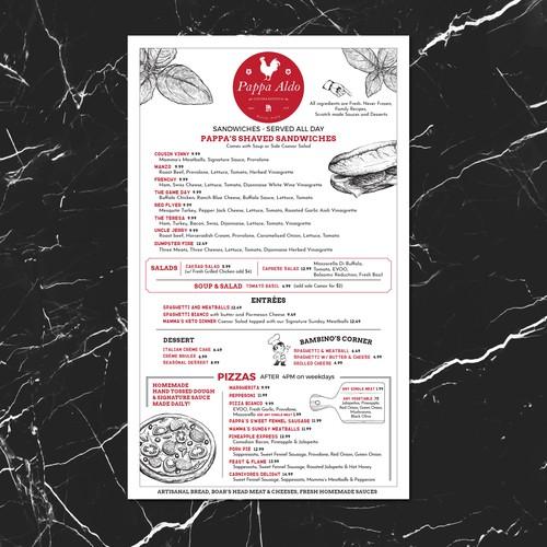 Pappa Aldo menu