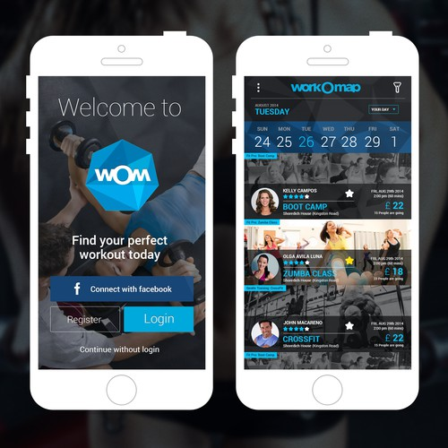 Create a 2 screens for new fitness app.