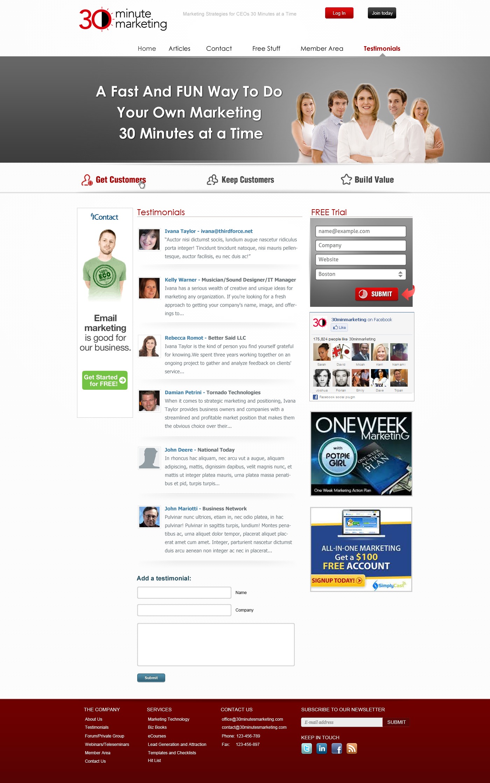 Create a wordpress  website design for 30 Minute Marketing