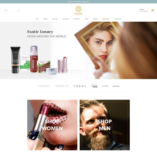 Homepage design for beauty products