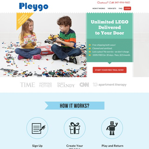 Website Design for Plego (LEGO rental website)