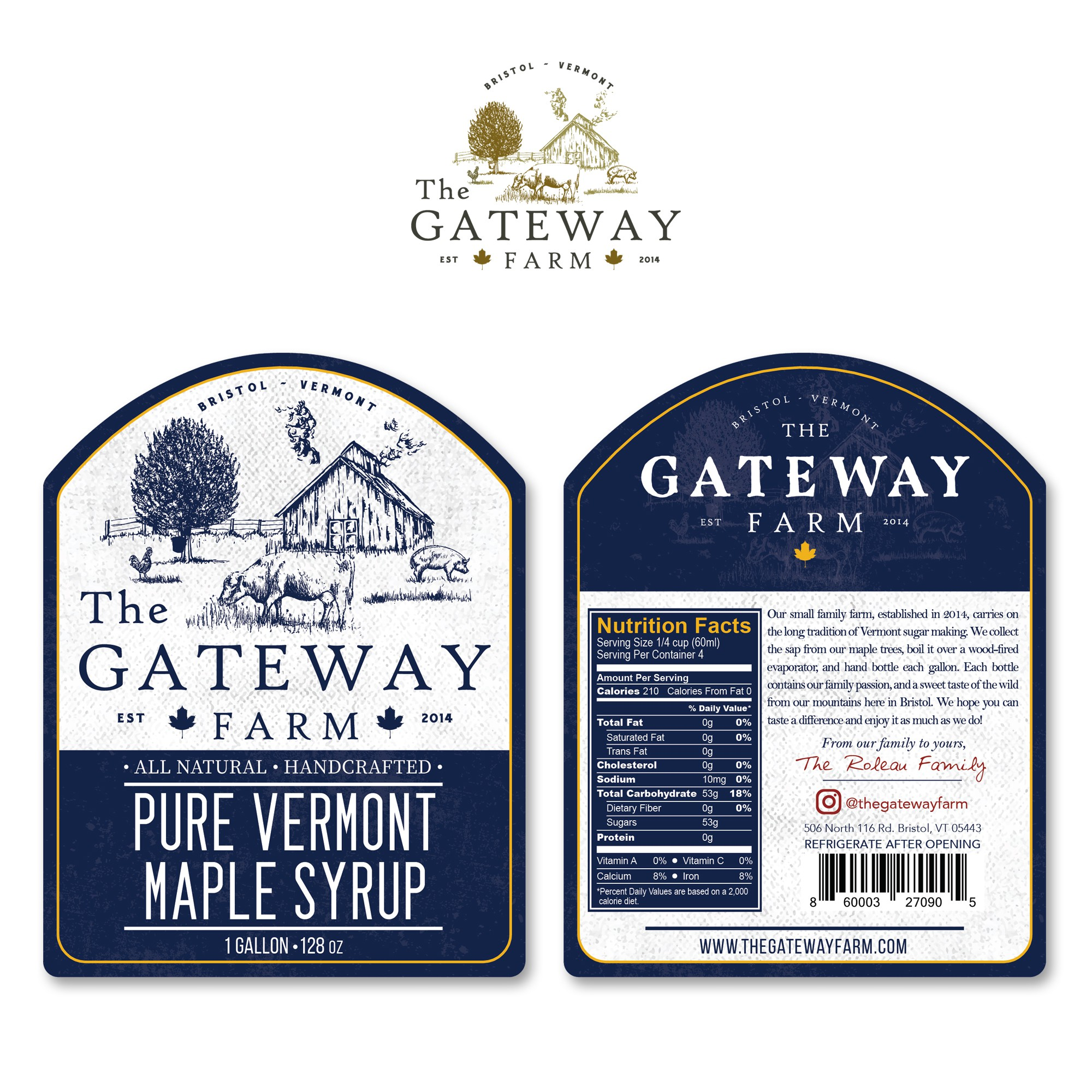Pure Vermont Maple Syrup LABELS
