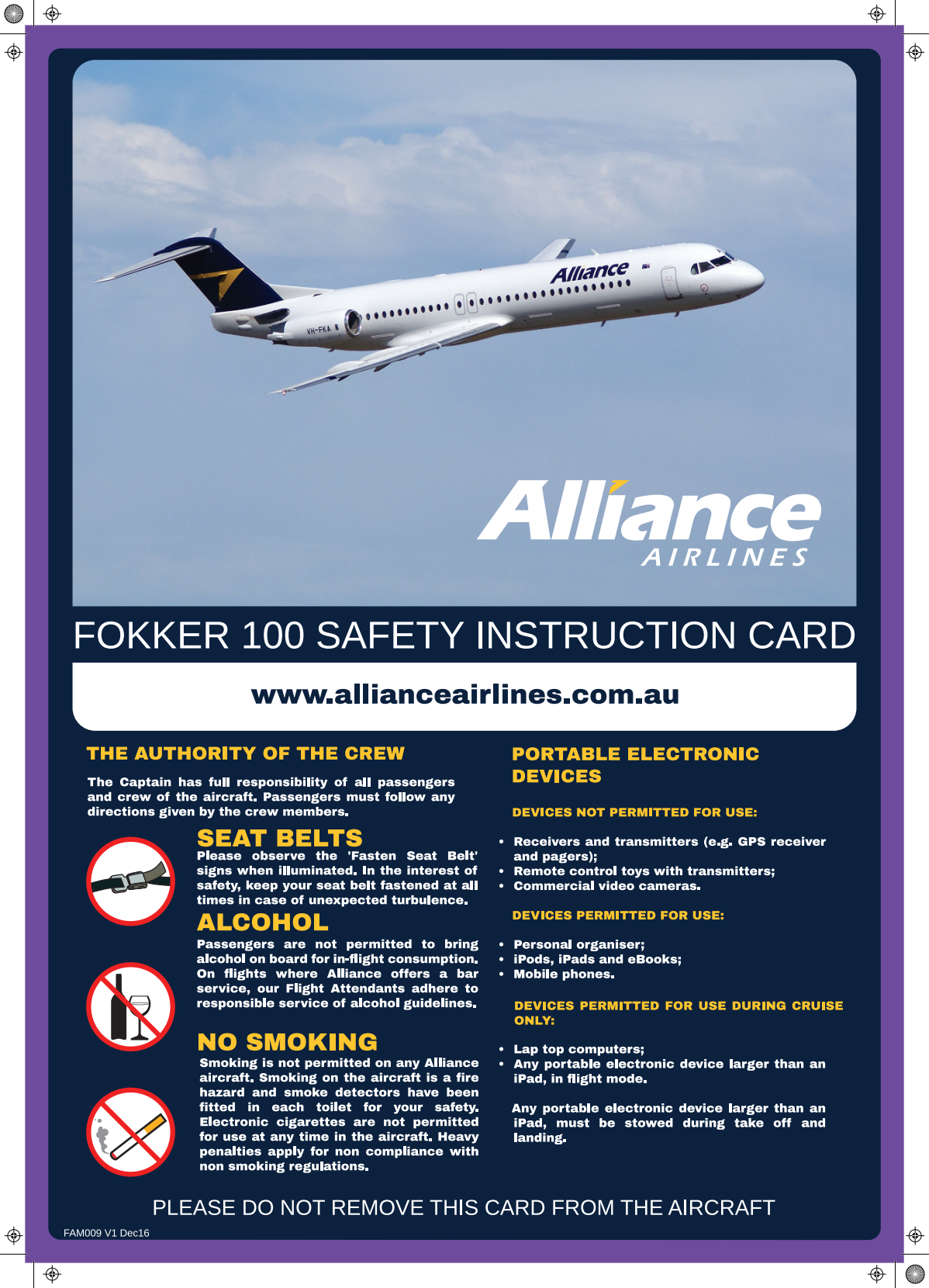 Passenger Safety Instruction Card F100