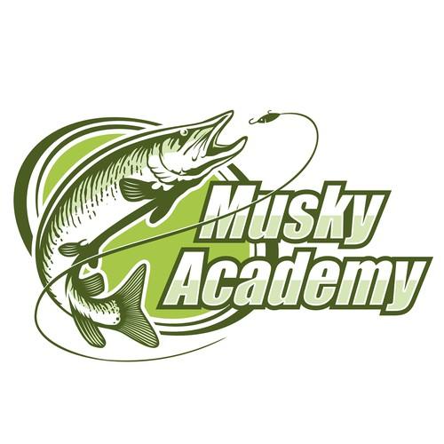 A logo for a fishing school.