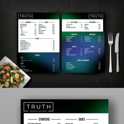 Menu concept for soul food restaurant and bar