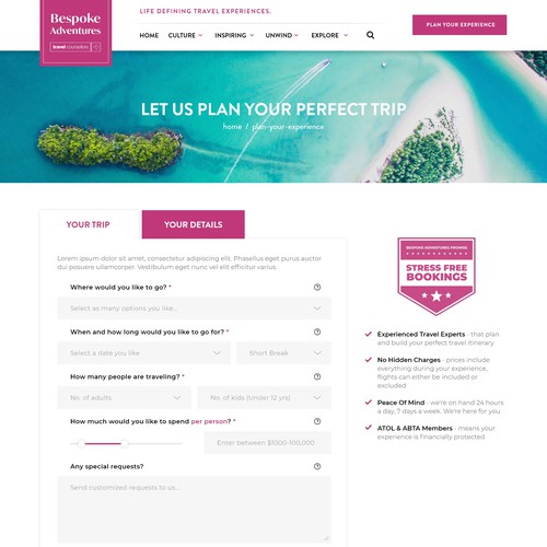 Travel Advisor Booking Page Design Concept