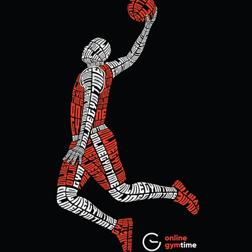 Typography Basketball Player