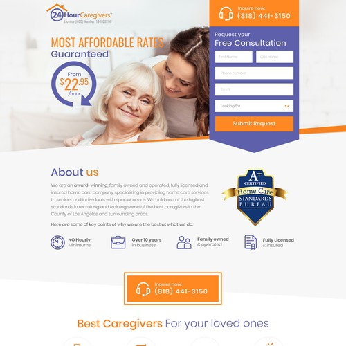 Caregivers Landing Page Design