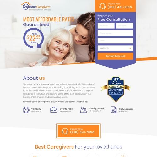 Caregivers Landing Page Design