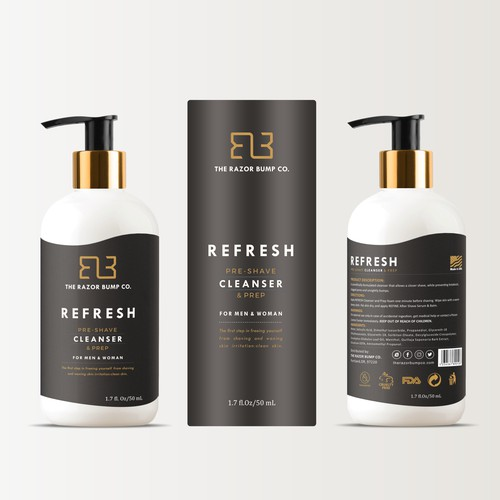 Modern and powerful label for a new men's grooming product line!