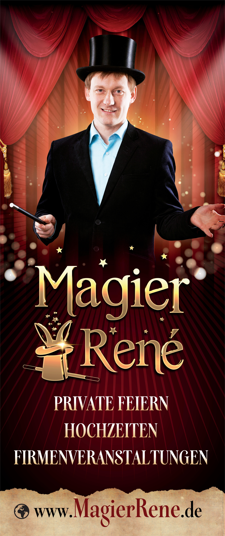 Erstelle einen Roll-up Banner für einen Zauberkünstler