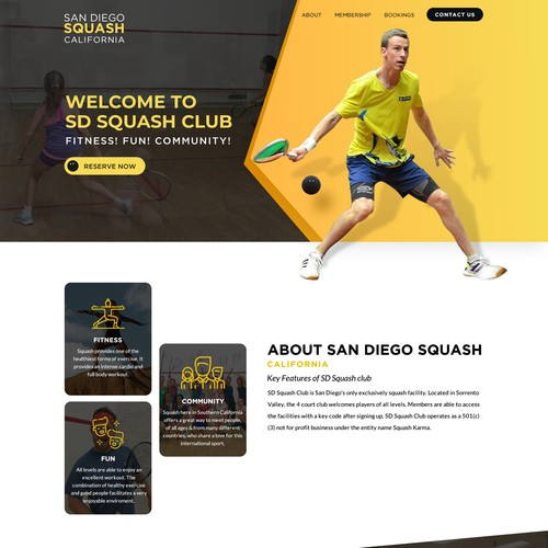 Unique great new website for Squash club