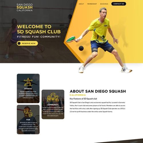 Unique great new website for Squash club
