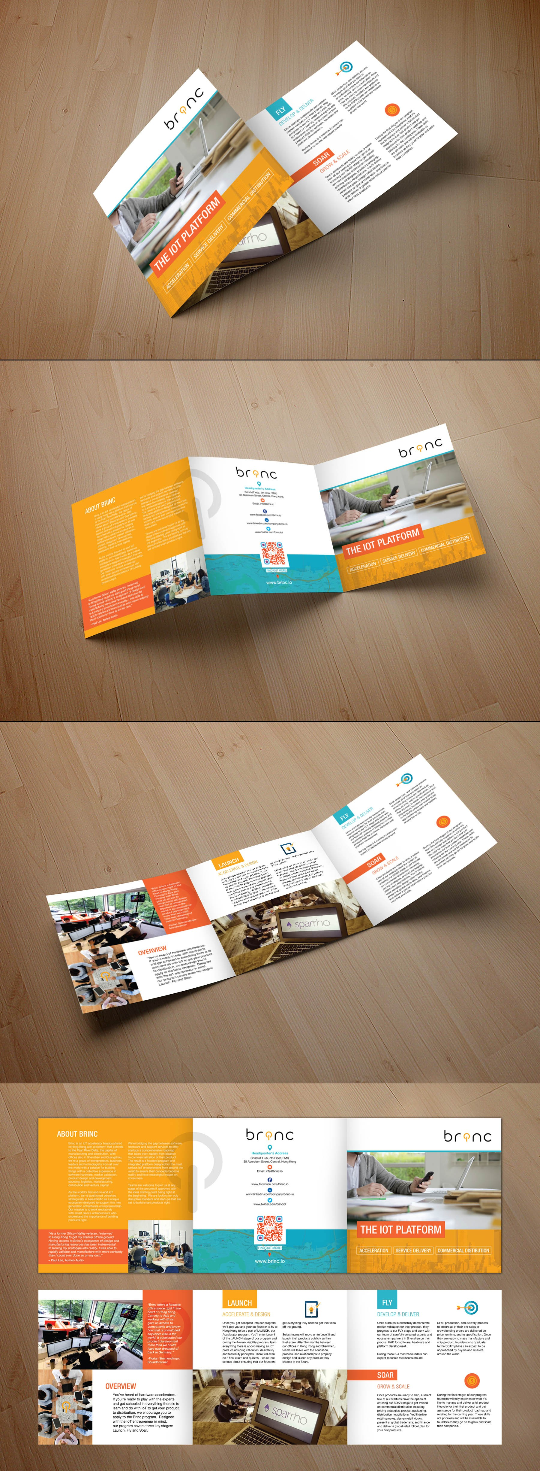 Create an innovative and creative company Brochure for a new Tech Start-up Accelerator in Hong Kong