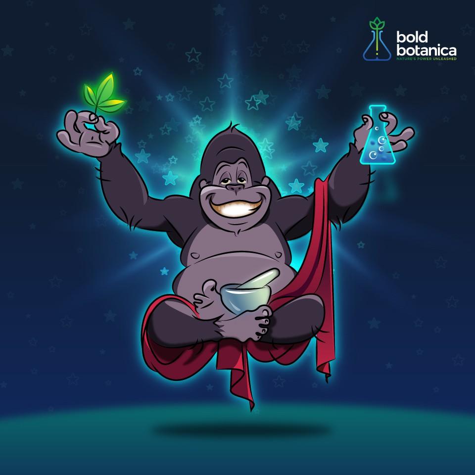 Happy enlightened gorilla mascot! Have fun