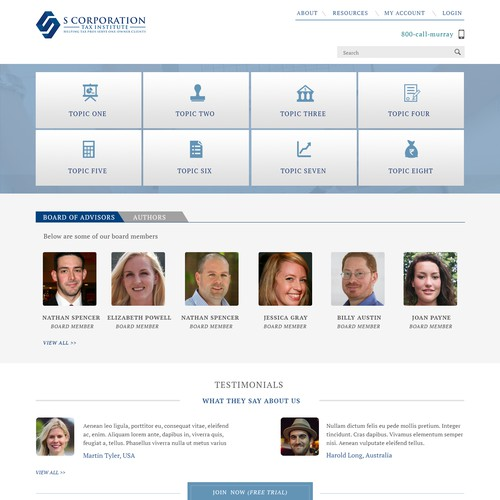Home page for website designed for tax professionals