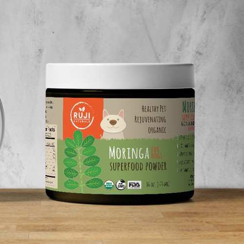 Organic label for Moringa Pet Supplement
