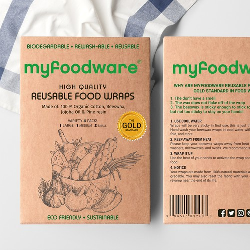 Packaging for organic, biodegradable, reusable food wraps