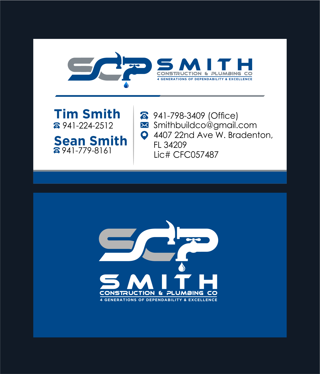 A simple yet distinct logo for a 5th generation construction & plumbing company