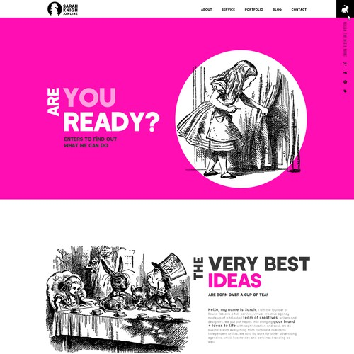 home page for full-service, virtual creative agency made up of a talented team of creatives, writers and designers.