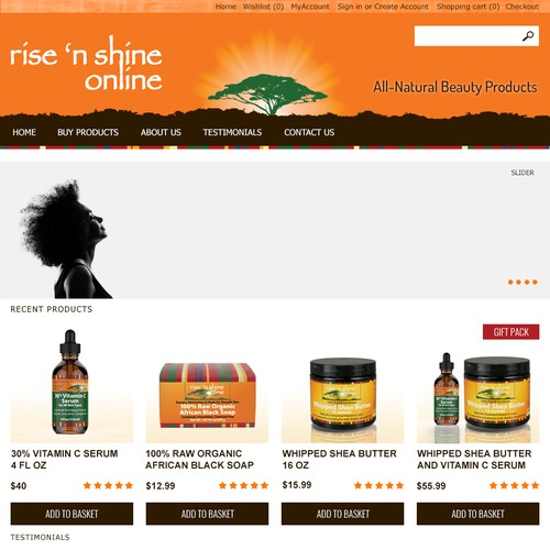 Web page design for Rise 'N Shine