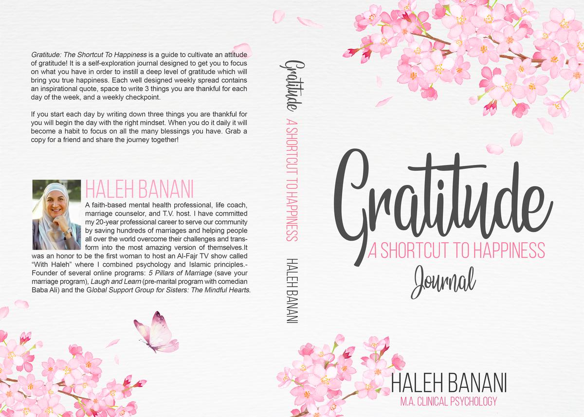 A Gratitude journal cover: Gratitude - A shortcut to happiness