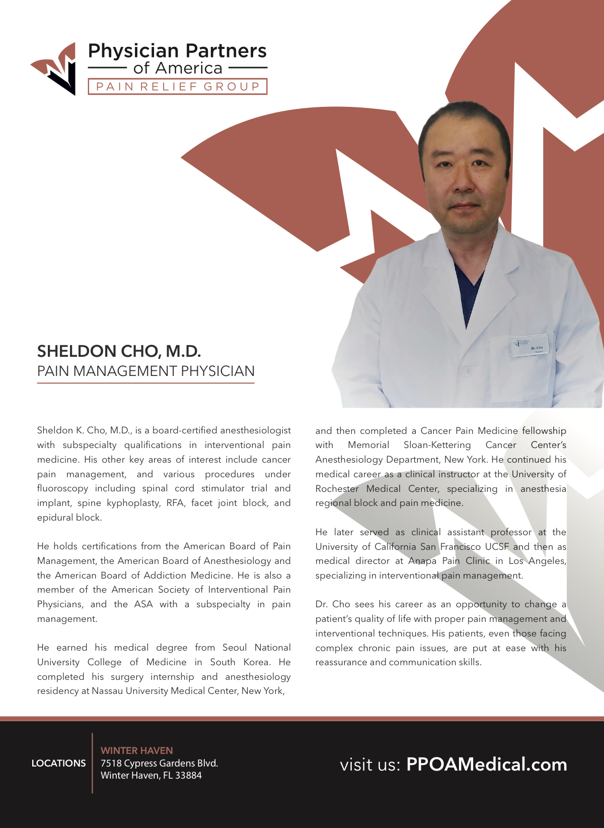 Dr. Sheldon Cho Flyer