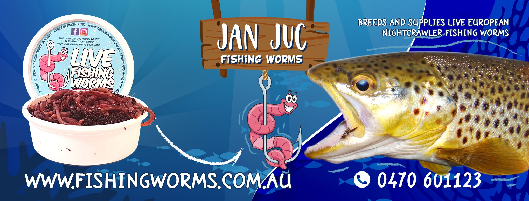 Facebook cover page for fishing bait worm company
