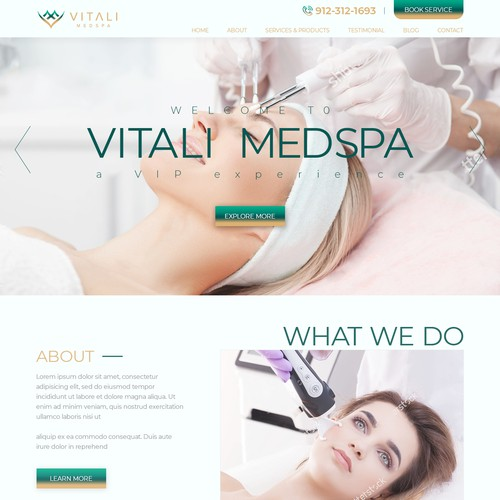 Web design concept for high end MEDSPA
