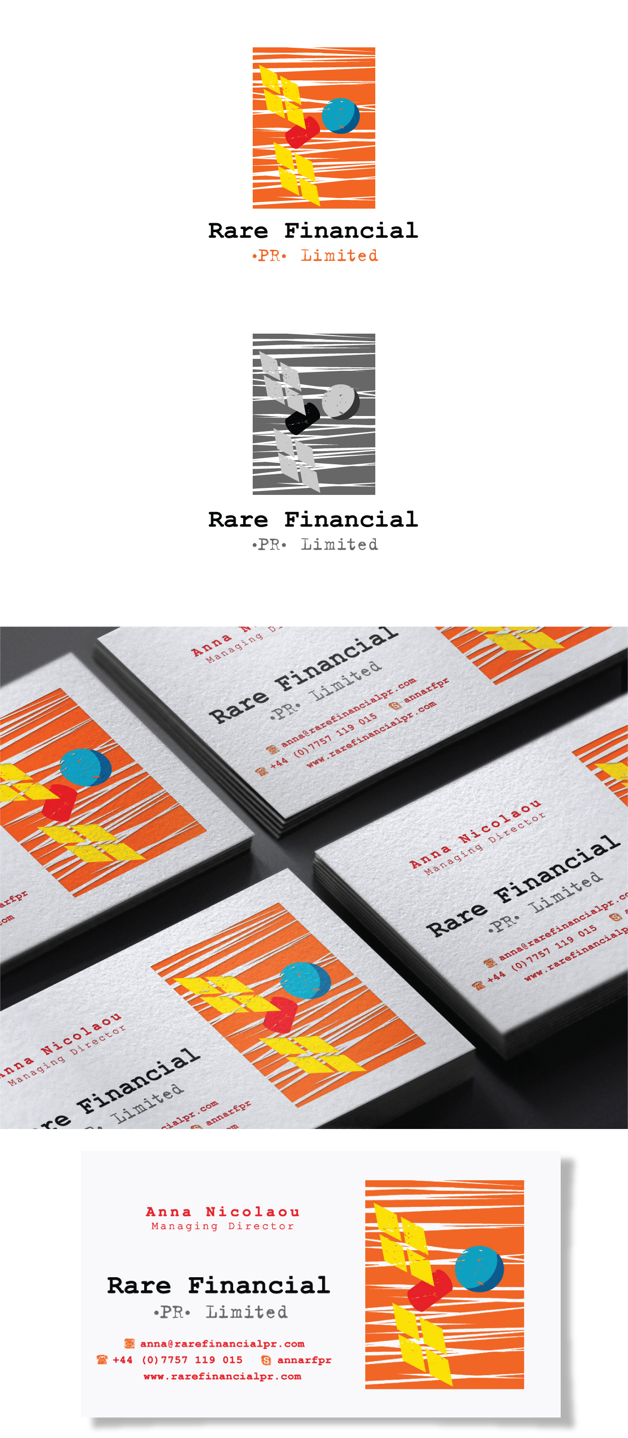 New logo and business card wanted for Rare Financial (PR) Limited