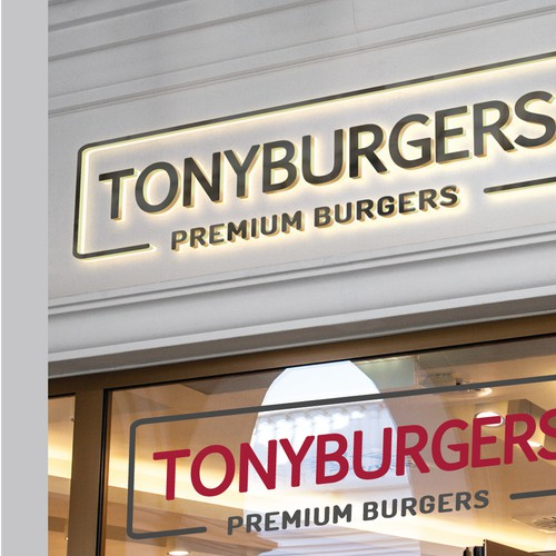 Tony burgers logo design.