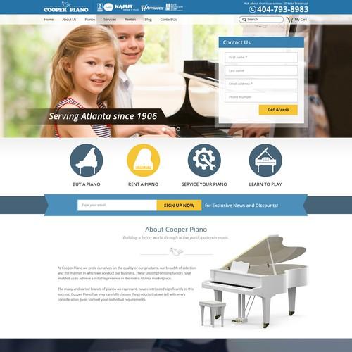 Web Design Concept for Cooper Piano