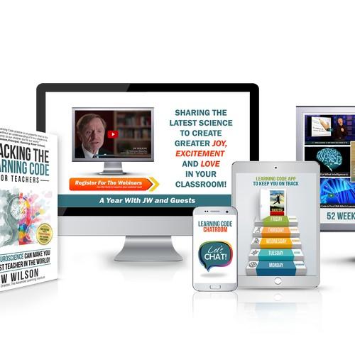 Bundle of book cover, webinar, mobile chat app, website front and tablet app design for the Scientific System