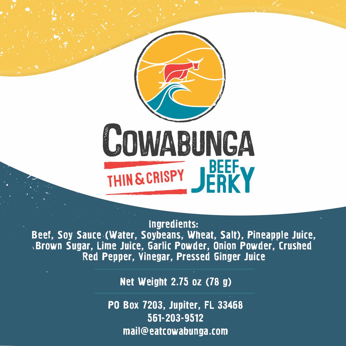 Cowabunga Beef Jerky farmer market label