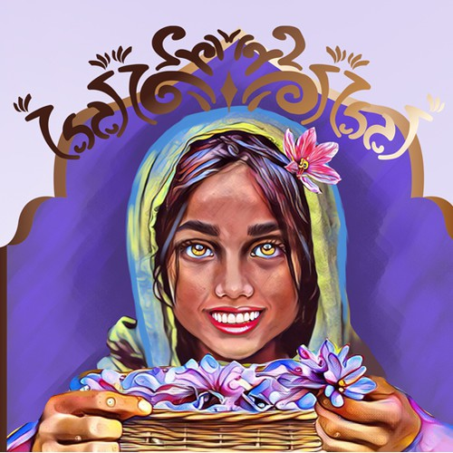 Logo design with afganistan girl and flowers