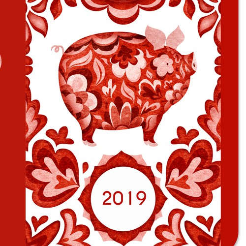 Illustrations and design for a red envelope and a gift tag