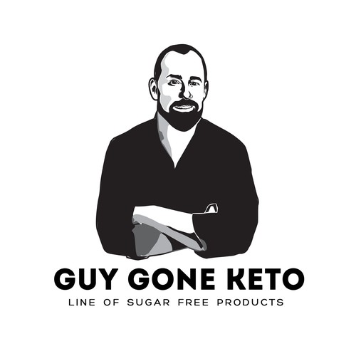 Guy Gone Keto - caricature and logo for line of consumer goods