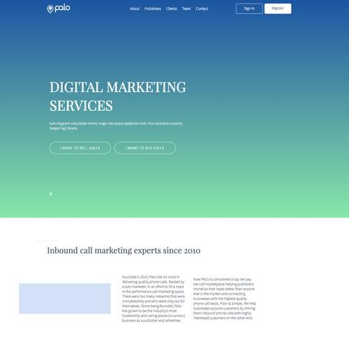 WordPress Page for digital marketing company