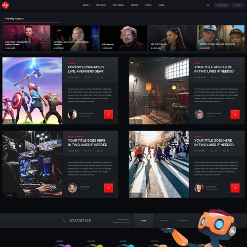 Custom Web Theme (UI/UX) Design for Video Streaming and Gaming Platform