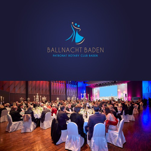 Logo design for the charity event BALLNACHT BADEN of the Patronat Rotary Club Baden in Switzerland